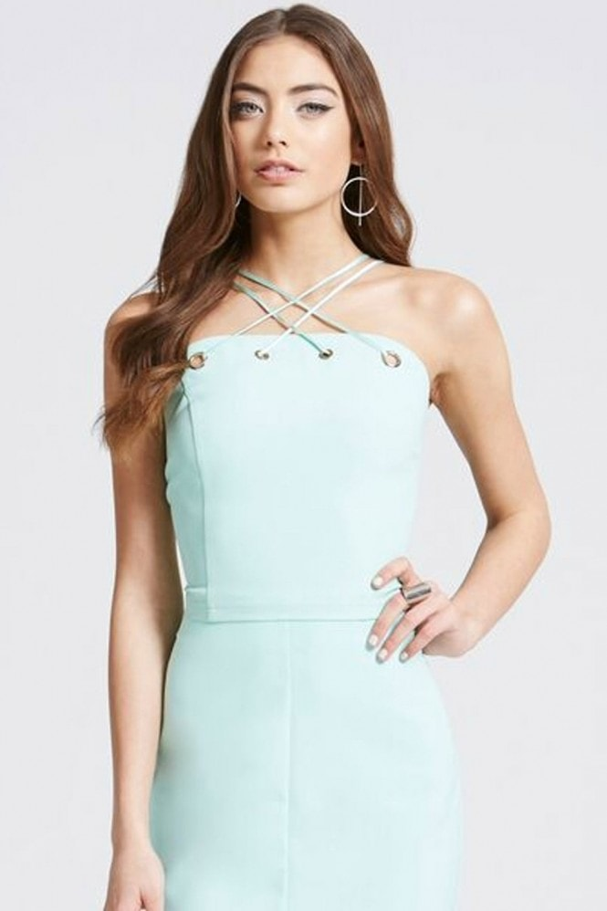 Outlet Girls On Film Aqua Blue Strappy Crop Top