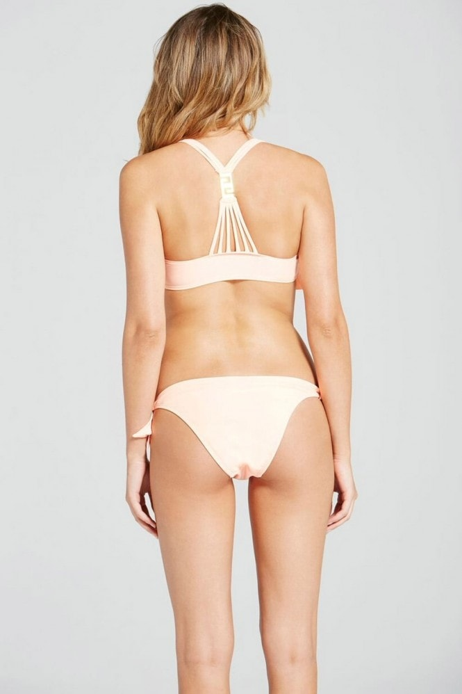 Little Mistress Swimwear Peach ruffle swing bikini with gold trim