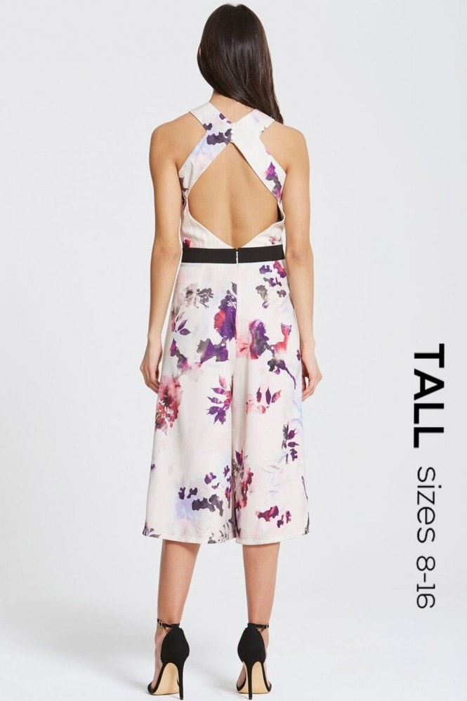 Tall Petal Print Cross Back Jumpsuit