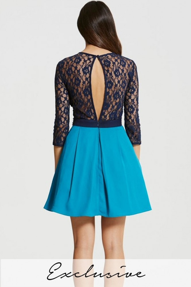 Little Mistress Navy and Turquoise Lace Mini Dress