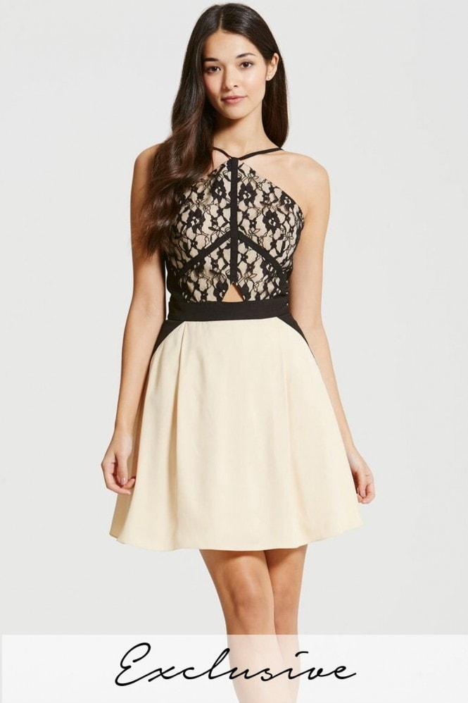 Beige and Black Lace Overlay Mini Dress