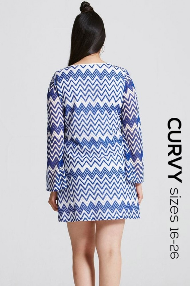 Girls on Film Blue and White Chevron Print Dress
