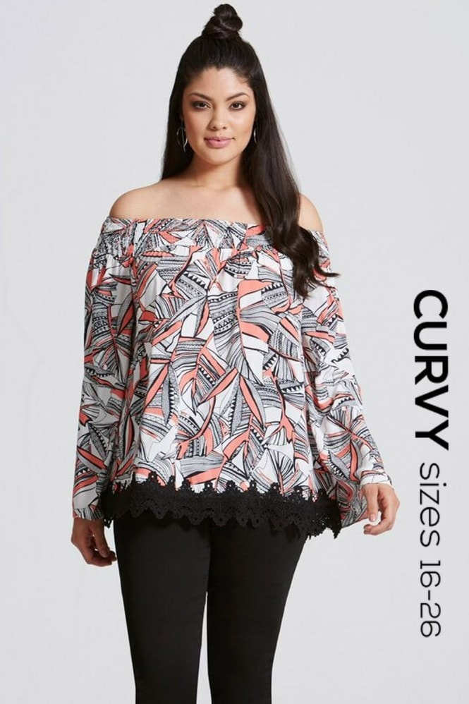 Girls On Film Curvy Coral Print Bardot Blouse with Lace