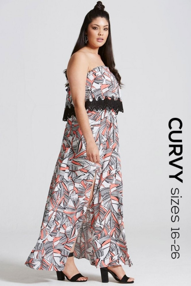 Girls On Film Curvy Coral Print Bandeau Maxi Dress with Lace