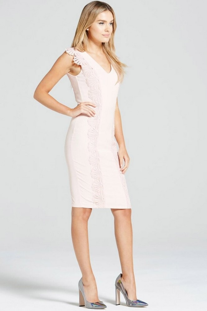Paper Dolls Blush Mirror Lace Trim Dress