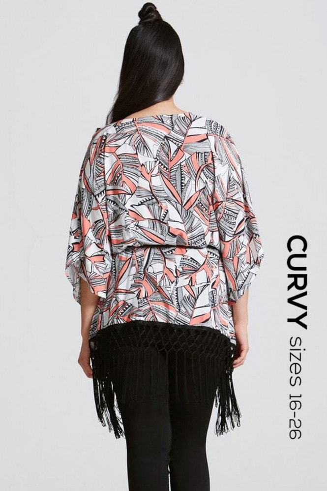 Girls On Film Curvy Coral Print Belted Kimono Top