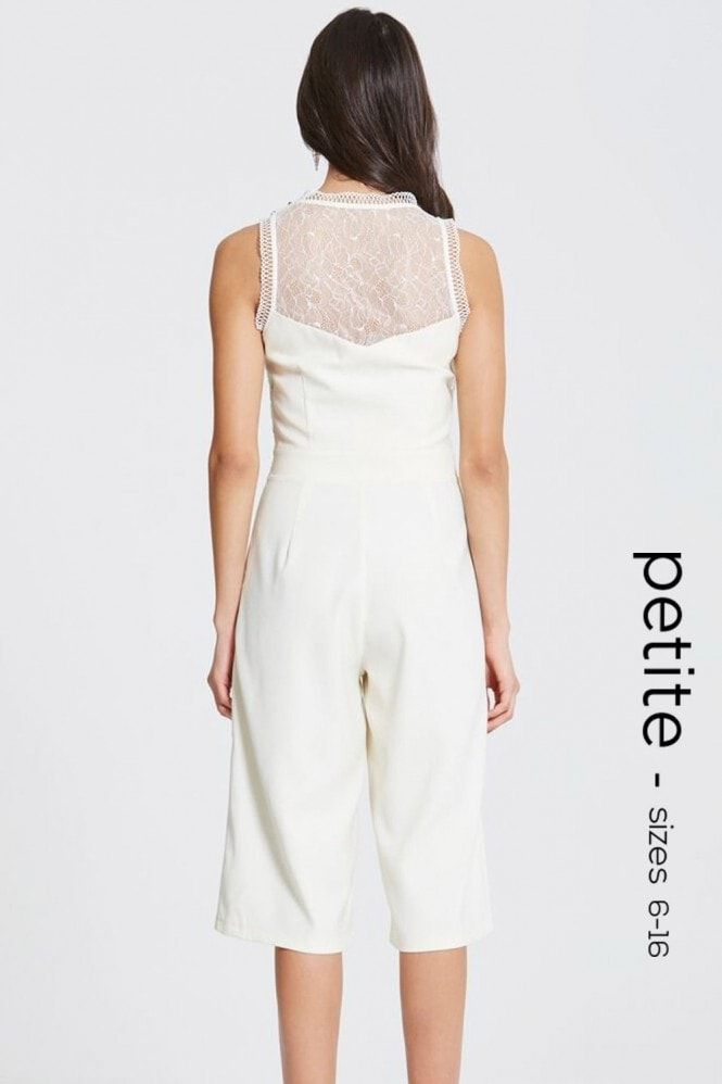 Petite Cream Crochet and Lace Culotte Jumpsuit