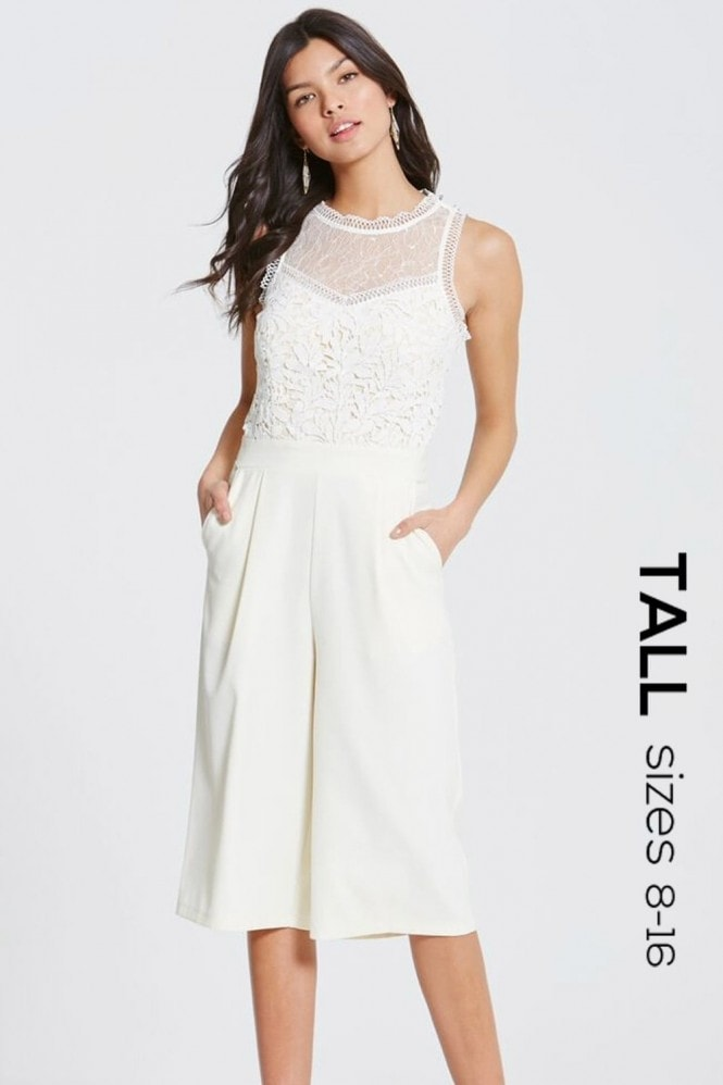 Tall Cream Crochet and Lace Culotte Jumpsuit
