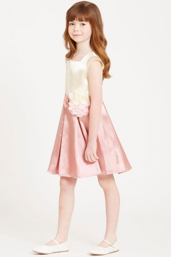 Little MisDress Cream and Pink Corsage Dress