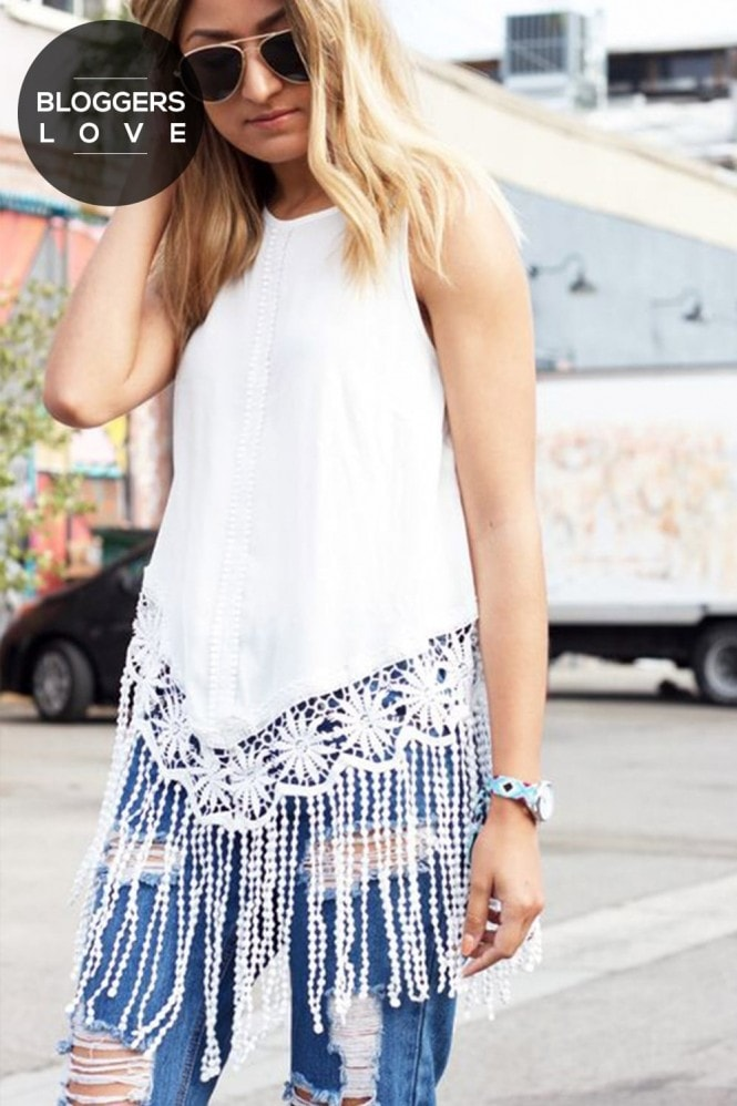 Outlet Girls On Film White Fringe Top