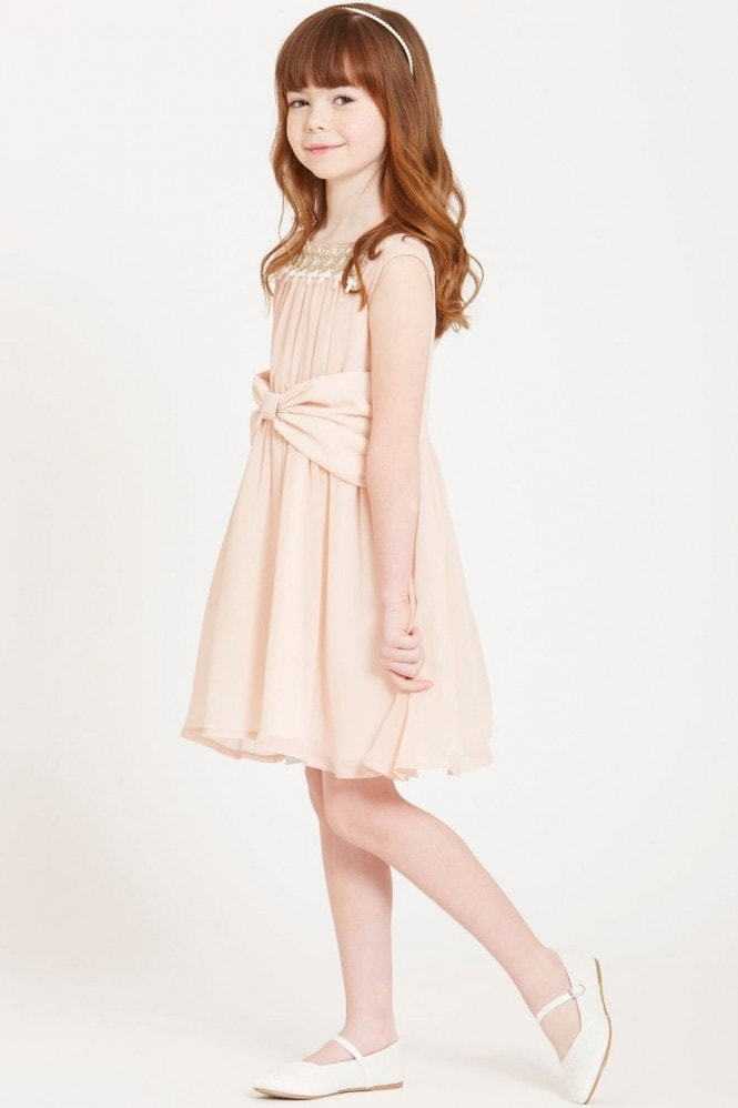 Little MisDress Nude Bow Waist Dress with Embroidered Neck