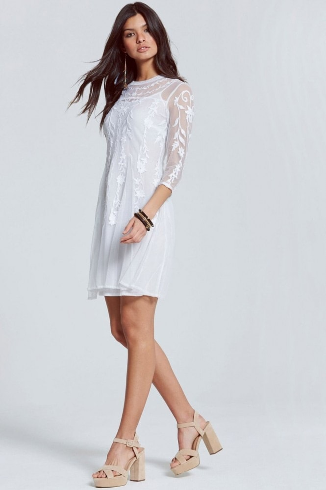 Outlet Girls On Film Cream Embroidered Sheer Mini Dress