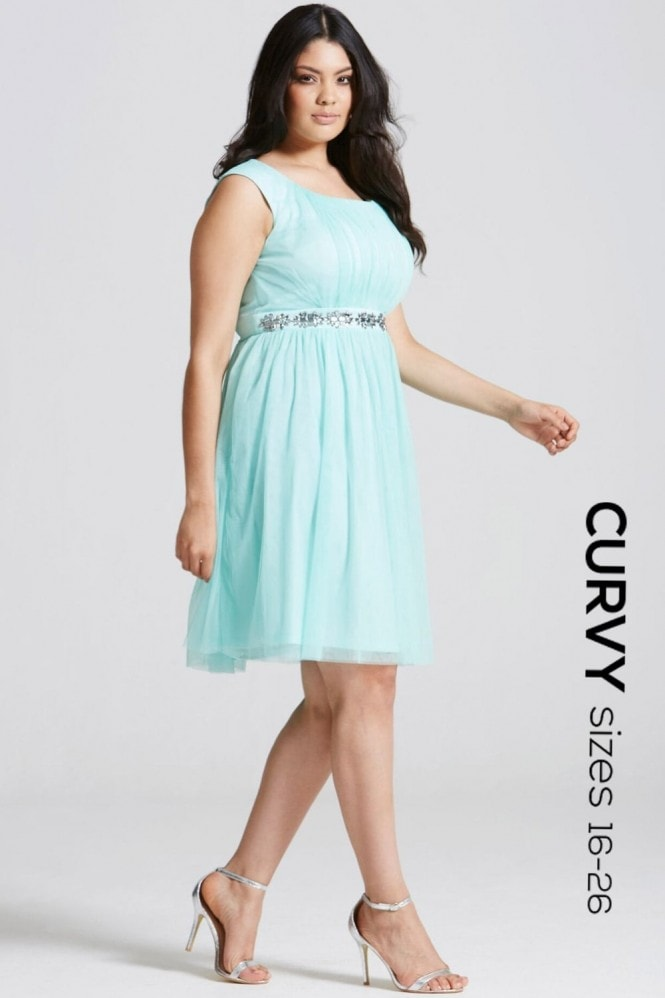 Little Mistress Curvy Seafoam Embellished Waist Prom Dress