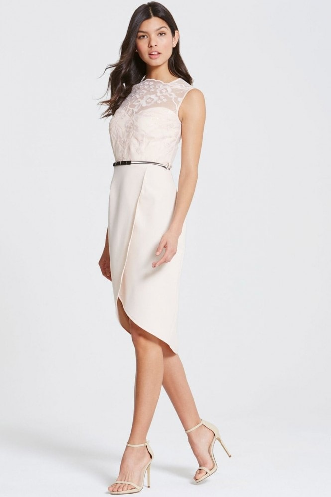 Little Mistress Nude Embroidered Sequin Midi Dress