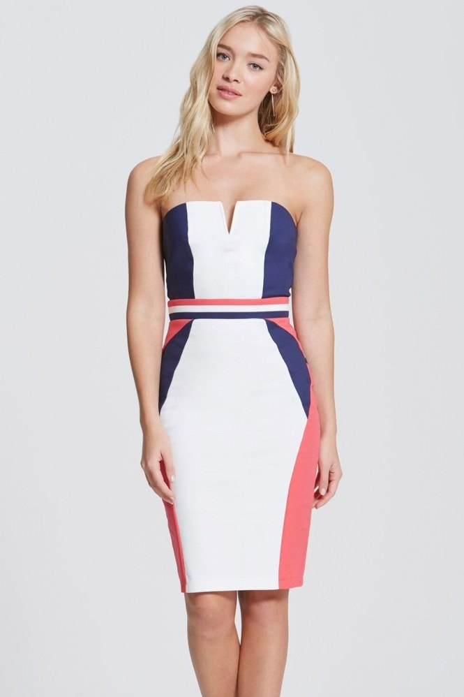 Outlet Paper Dolls Navy, Cream and Coral Colour Block Dress