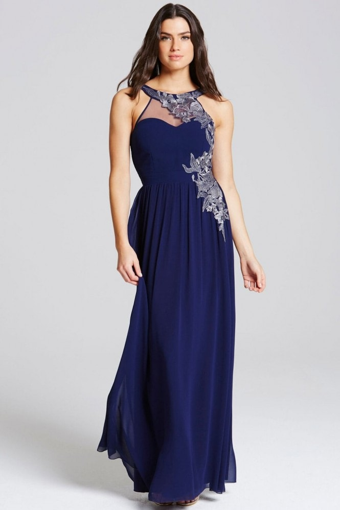 Little Mistress Navy Embroidery Applique Maxi Dress
