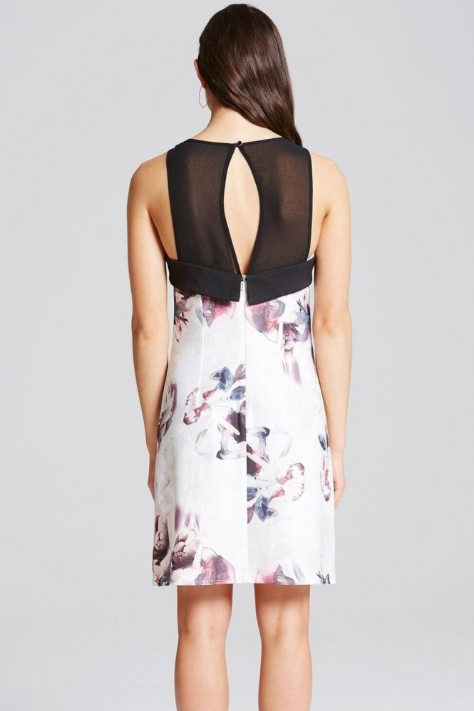 Little Mistress Floral Print Racer Front Shift Dress