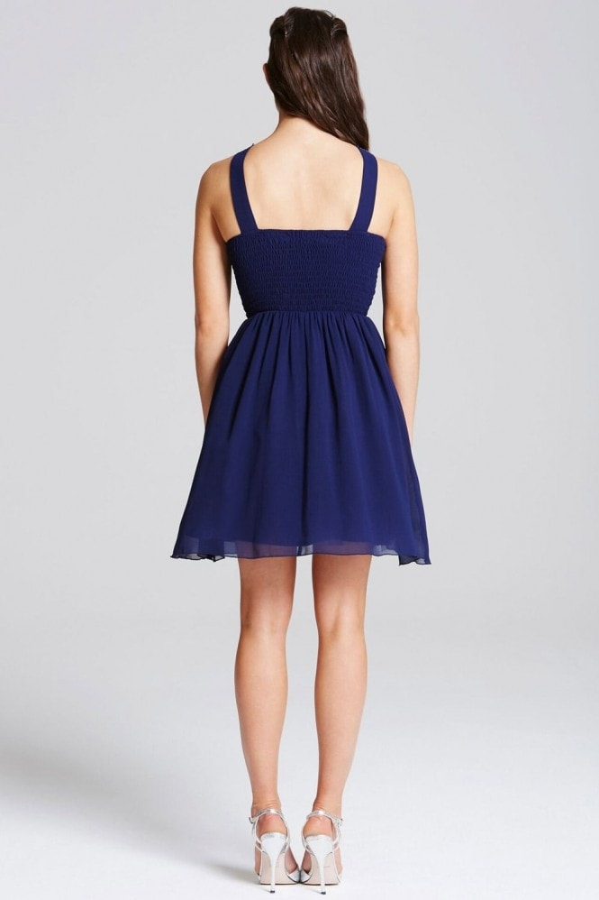 Little Mistress Navy Embellished Strap Mini Dress