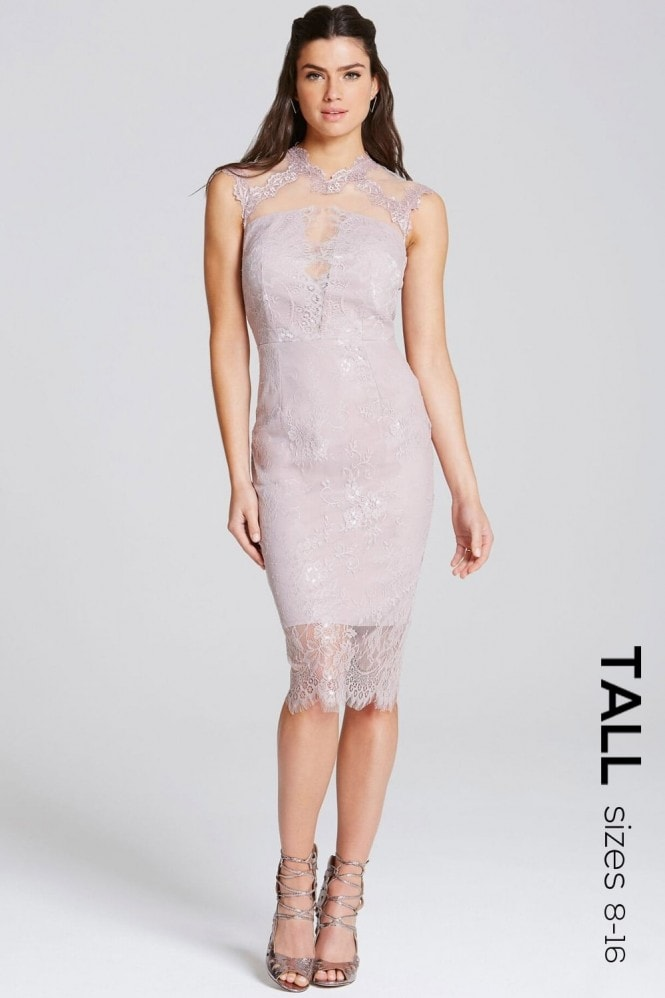 Mink Lace High Neck Bodycon Dress