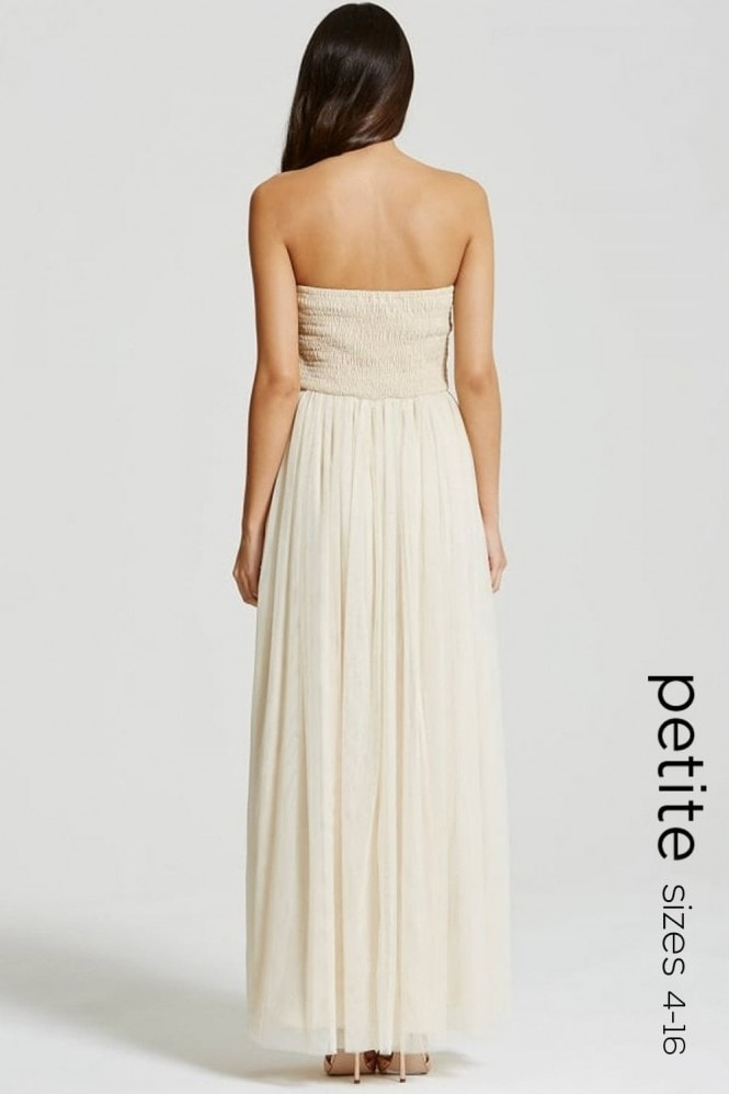 Petite Nude and Mocca Lace Overlay Bandeau Maxi Dress