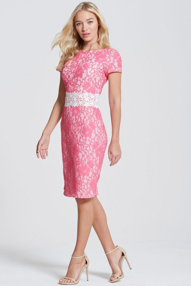 Paper Dolls Pink Lace Bodycon Dress with Crochet Trim