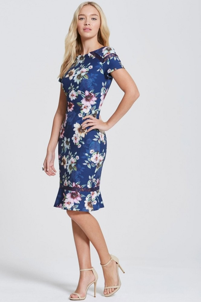 Paper Dolls Navy Floral Bloom Peplum Hem Dress