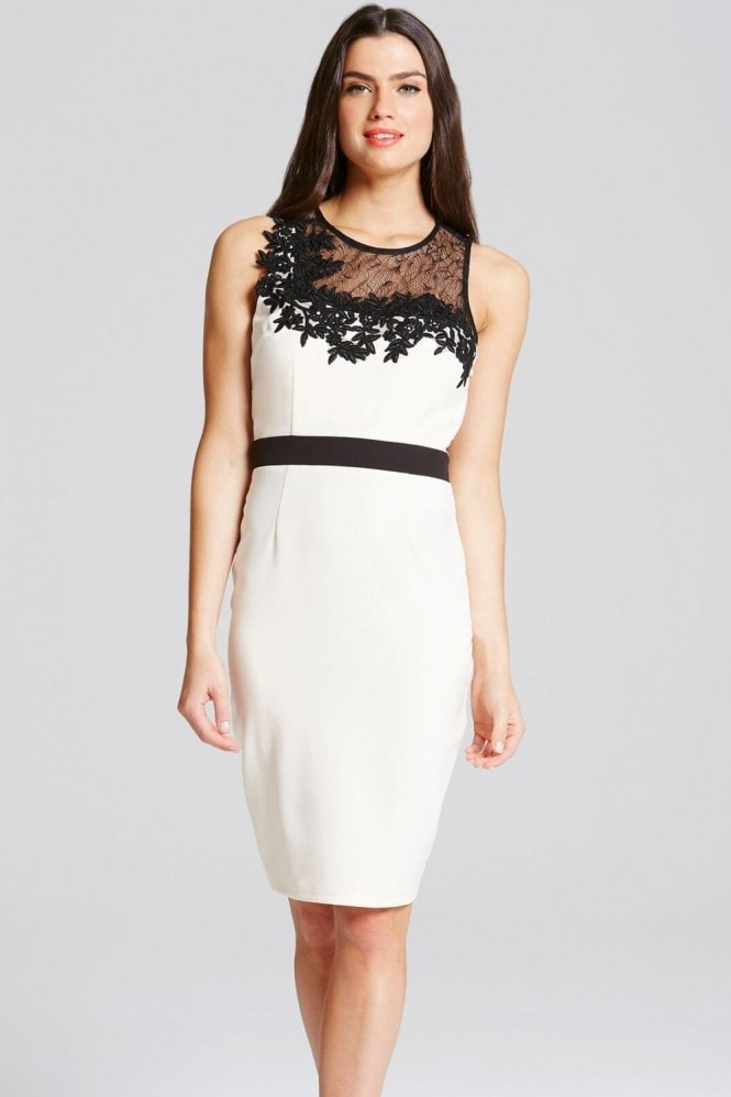 Little Mistress Monochrome Lace and Crochet Bodycon Dress