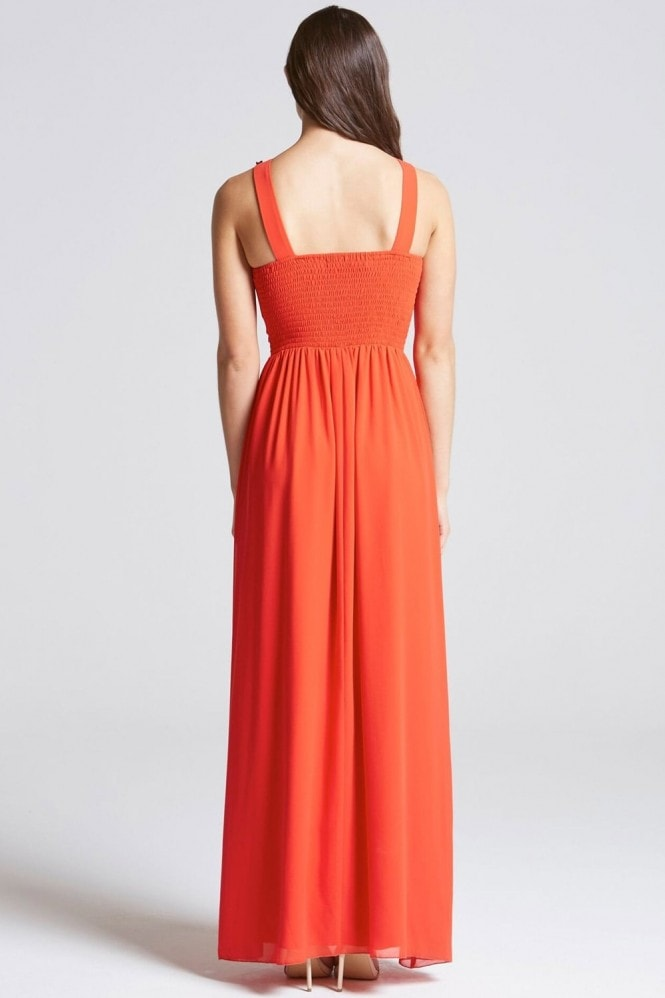 Little Mistress Tomato Red Embellished Trim Maxi Dress