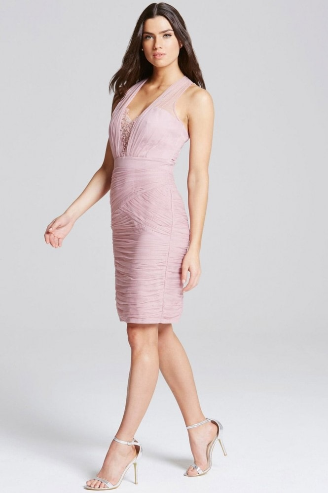 Little Mistress Rose Lace and Jewel Bust Bodycon Dress