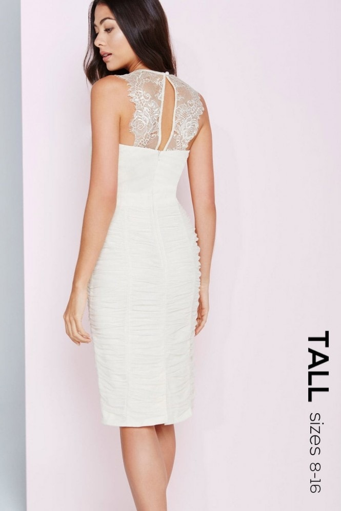 Tall Cream Lace and Jewel Bust Bodycon Dress