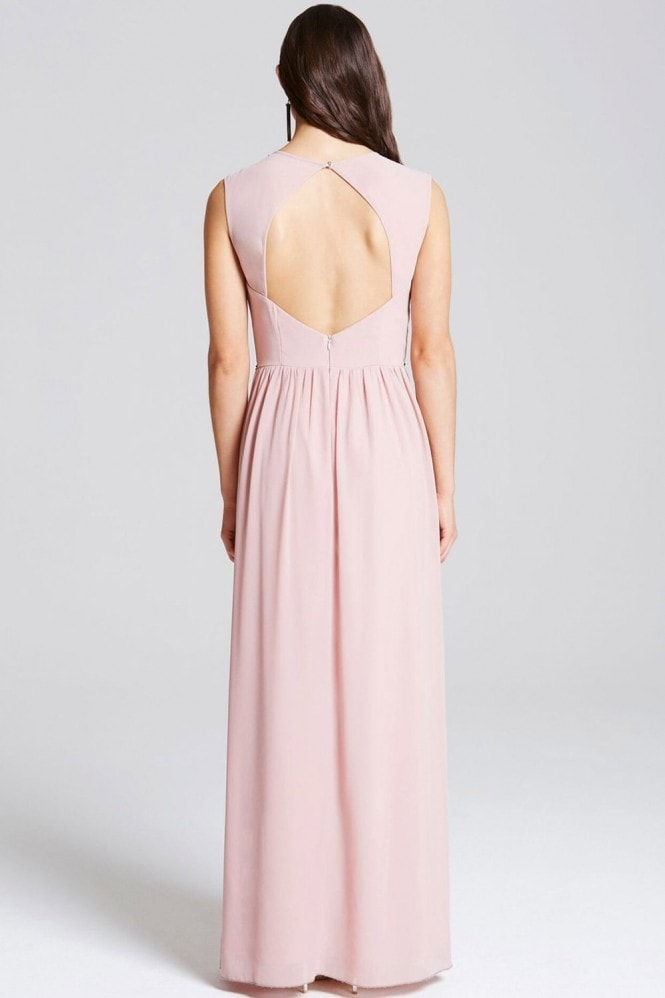 Little Mistress Rose Exposed Back Embellished Maxi Dress