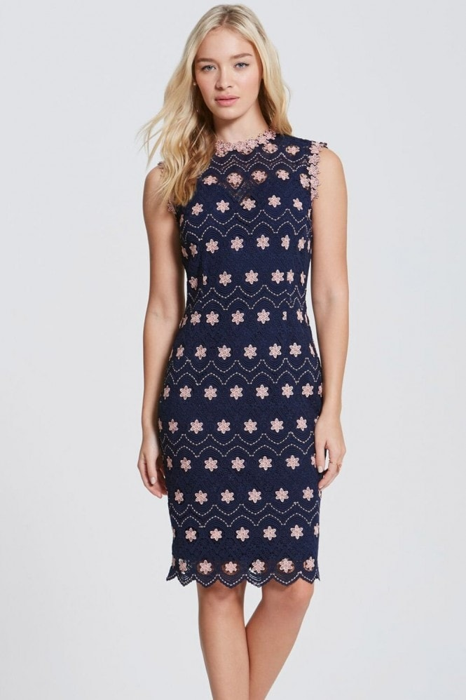 Paper Dolls Navy and Blush Crochet High Neck Dress
