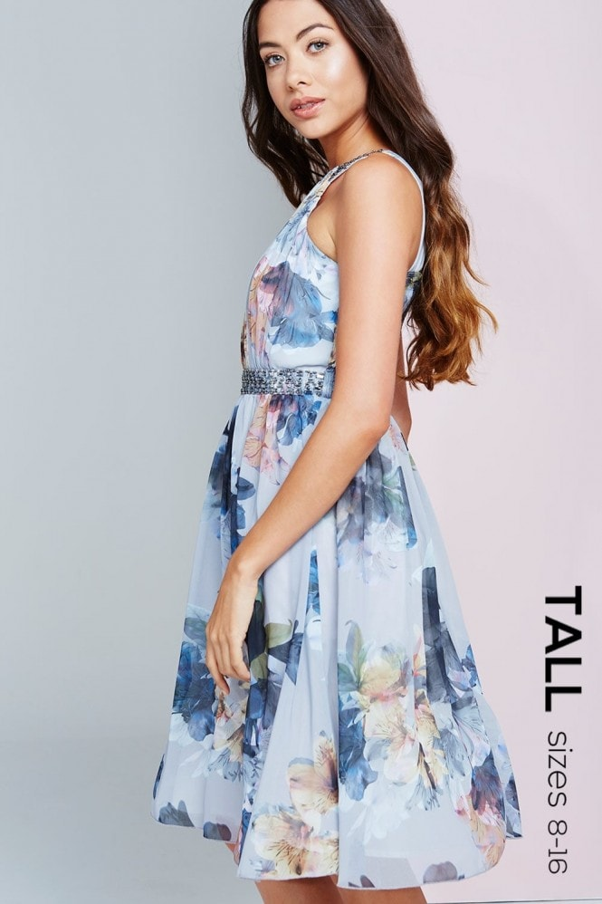 Tall Floral Print Chiffon Prom Dress