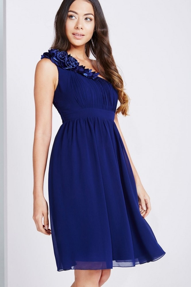 Little Mistress Navy One Shoulder Corsage Prom Dress