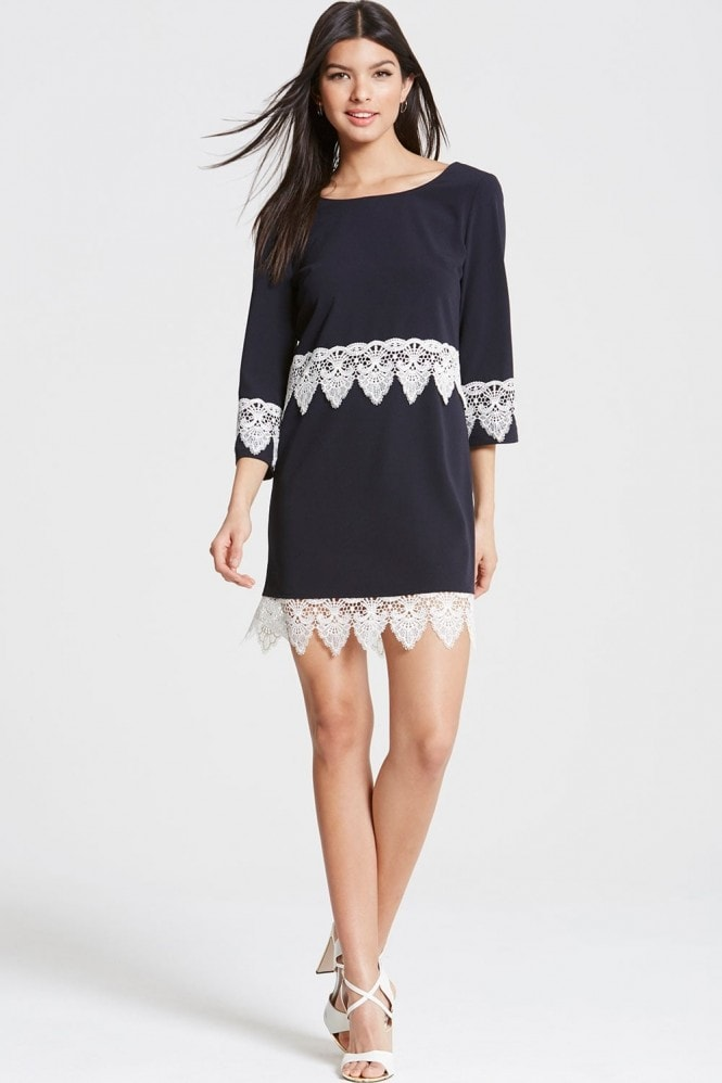 Girls on Film Navy and White Lace Hem Shift Dress