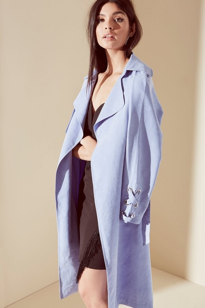 Outlet Girls On Film Blue Soft Touch Trench Coat