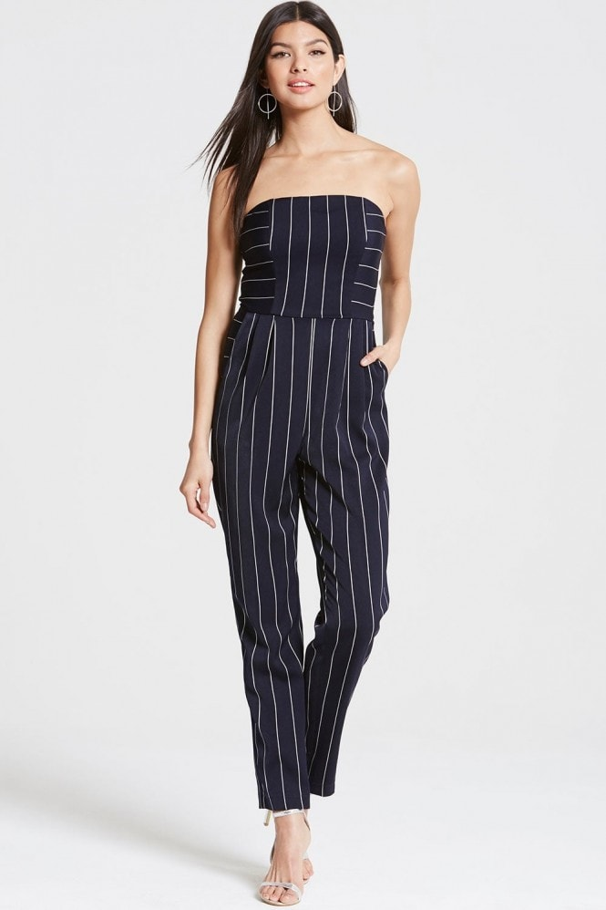 Outlet Girls On Film Navy Stripe Crossed-over Playsuit