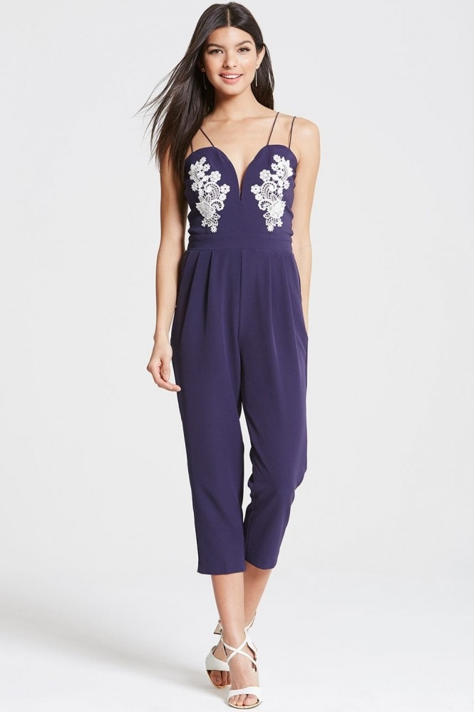 Girls on Film Navy Plunge Neck Jumpsuit With Lace Motif