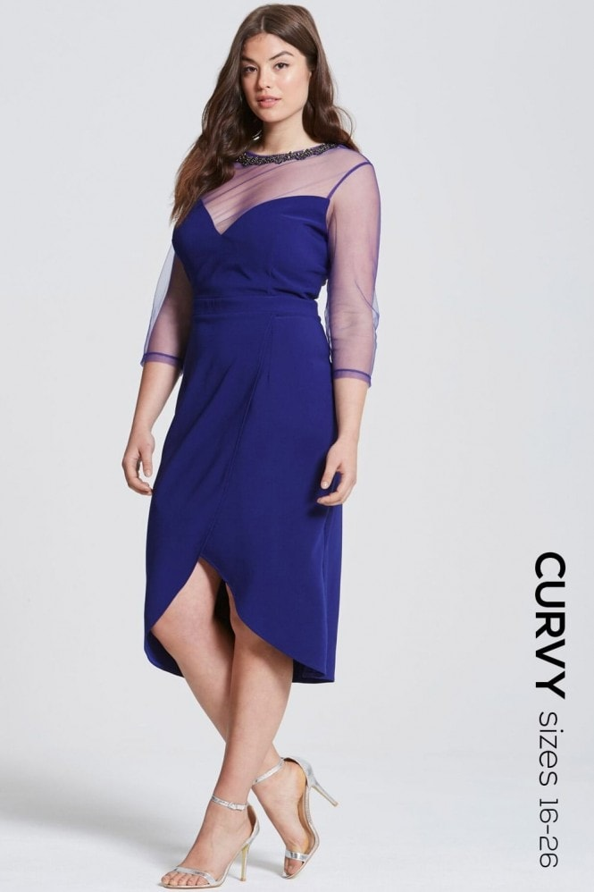 Cobalt Sheer Midi Dress With Embellishment