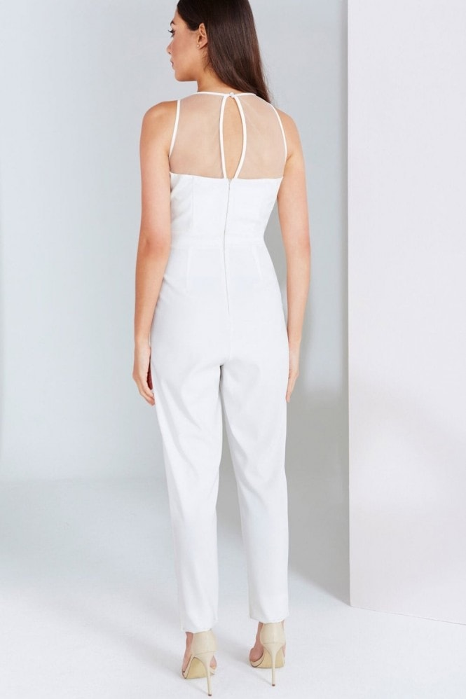 Little Mistress Cream Embroidered Panel Jumpsuit
