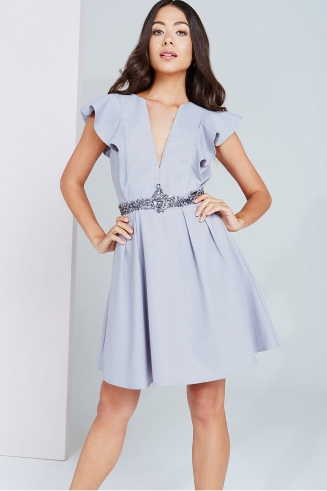 Little Mistress Grey Plunge Ruffle Mini Dress