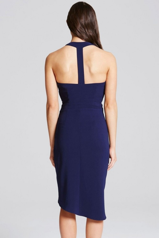 Little Mistress Navy Embellished Wrap Front Midi Dress