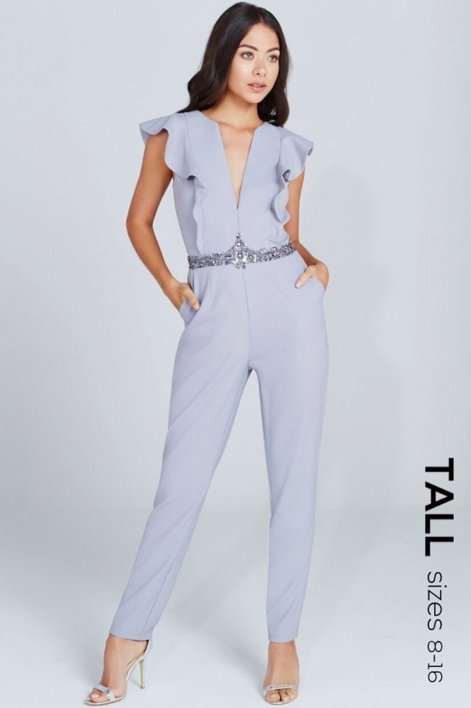 Tall Grey Plunge Ruffle Jumpsuit
