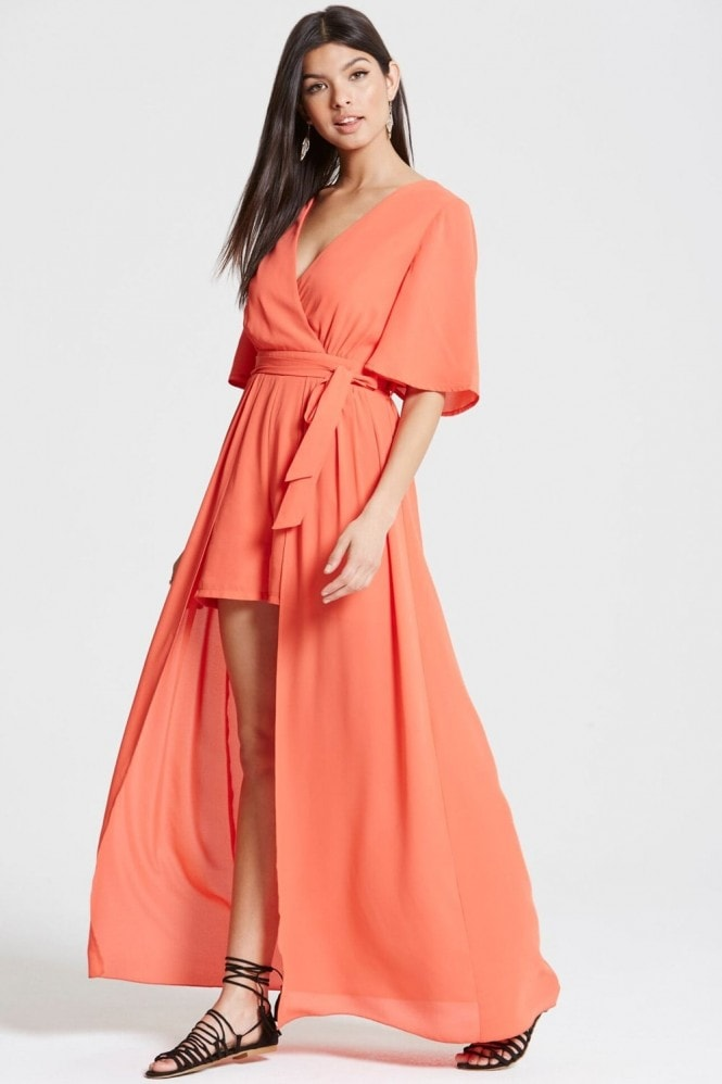Outlet Girls On Film Coral Maxi Overlay Playsuit