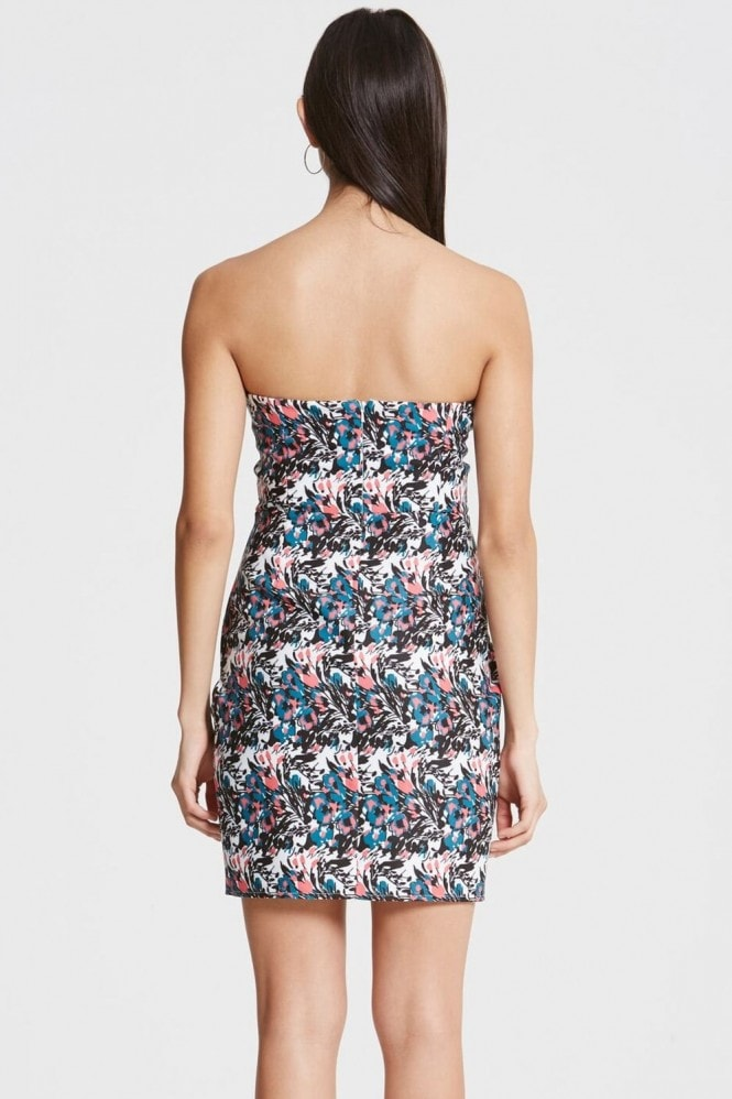 Girls on Film Floral Print Plunge Bandeau Dress
