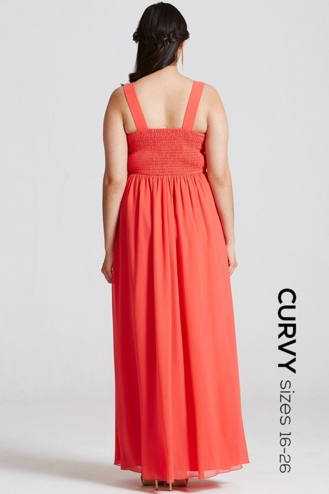 Little Mistress Curvy Coral Lace Waist Maxi Dress
