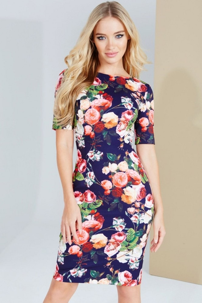 Paper Dolls Navy Floral Printed Dress