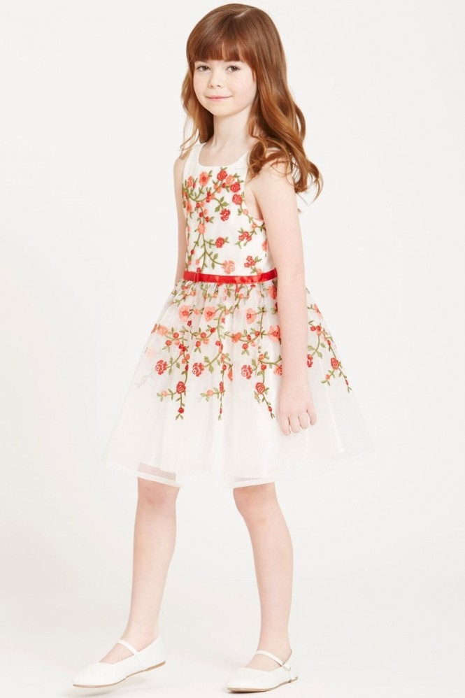 Little MisDress White Embroidered Rose Dress