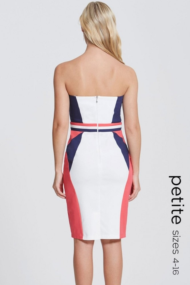 Petite Navy, Cream and Coral Colour Block Dress