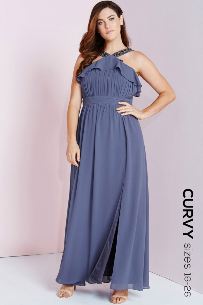 Lavender Grey Maxi Dress With Ruffle
